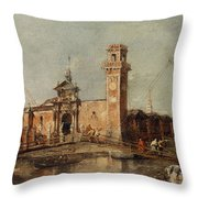 The Entrance To The Arsenal In Venice  Throw Pillow
