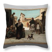 The Fable Of The Miller  His Son  And The Donkey  Throw Pillow