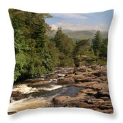 The Falls Of Dochart And Bridge At Killin In Scottish Highlands Throw Pillow