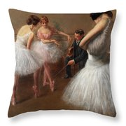 The First Pose, The Ballet Lesson Throw Pillow