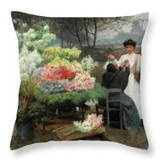 The Flower Vendor On The Quays In Paris Throw Pillow