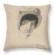 The Head Of A Young Woman Wearing A Bonnet Throw Pillow