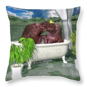 The Hippo Tub Throw Pillow