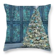 The Hoping Holiday Frog Throw Pillow