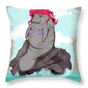 The Little Manatee  Throw Pillow