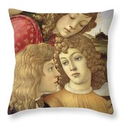The Madonna Of The Magnificat, Detail Of Three Boys, 1482 Throw Pillow