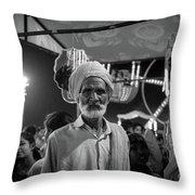 The Many Shades Of Delhi - Turbaned Man Throw Pillow