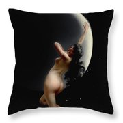 The Moon Nymph - Night Throw Pillow