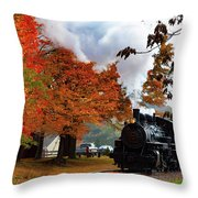 The Number 40 Steam Train In Essex Ct Throw Pillow by Jeff Folger