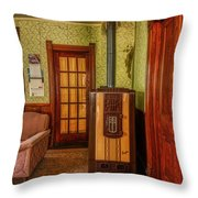 The Old Farmhouse Old Furnace And Woodwork Throw Pillow