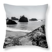 The Oregon Coast In Black And White Throw Pillow by Margaret Pitcher