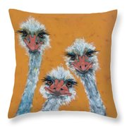 The Ostrich Sisters Sketch Throw Pillow by Jani Freimann