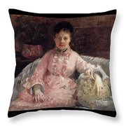 The Pink Dress Also Known As Poop - 1870 - Pc Throw Pillow