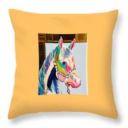 The Pink Horse Throw Pillow