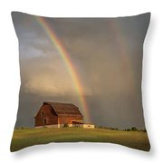 The Red Barn And A Rainbow Throw Pillow