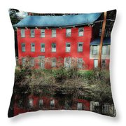 The Red House Along The Autumn Canal Throw Pillow