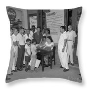 Currency Exchange Office Throw Pillow
