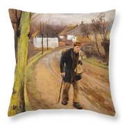 The Road Through The Village Of Ring Throw Pillow