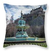 The Ross Fountain And Edinburgh Castle Throw Pillow by Ross G Strachan
