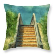 The Sandy Steps Over The Dunes Throw Pillow by Lois Bryan