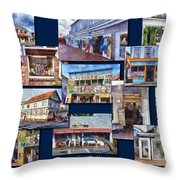 The Shops Of Provincetown Cape Cod Massachusetts Collage Pa Throw Pillow