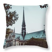 The Spire - Cathedral Of Notre Dame Paris France Throw Pillow