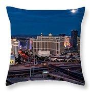 The Strip - Night Throw Pillow