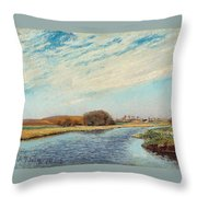 The Susaa River At Naestved, Denmark Throw Pillow
