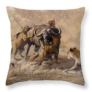 The Take Down - Lions Attacking Cape Buffalo Throw Pillow by Alan M Hunt