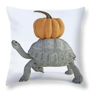 The Tortoise And The Pumpkin Throw Pillow