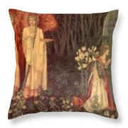 The Vision Of The Holy Grail To Sir Galahad Sir Bors And Sir Perceval Throw Pillow
