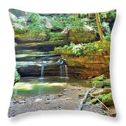 The Waterfall In Old Man's Cave Hocking Hills Ohio Throw Pillow
