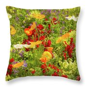 The World Laughs In Flowers - Poppies Throw Pillow