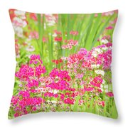 The World Laughs In Flowers - Primula Throw Pillow