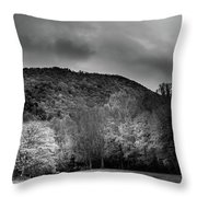 The Yellow Tree In Black And White Throw Pillow