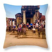 They Come To See Angkor Wat, Siem Reap, Cambodia Throw Pillow