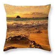 Thoughtful Morning Golden Coastal Paradise  Throw Pillow