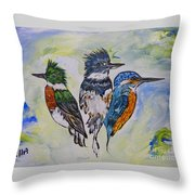 Three Kingfisher Birds - Painting By Ella Throw Pillow