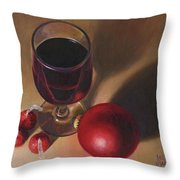 Three Kisses And A Glass Of Port Throw Pillow by Joe Winkler
