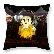 Three Lanterns In The Shape Of Buddhist Monks Throw Pillow