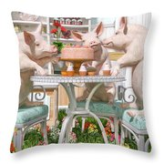 Three Little Pigs And The Birthday Cake Throw Pillow