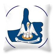 Thumbs Up Louisiana Throw Pillow