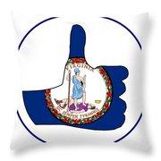 Thumbs Up Virginia Throw Pillow