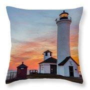Tibbetts Point Light At Sunset Throw Pillow