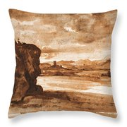 Tiber Landscape North Of Rome Wi  Throw Pillow