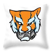 Tiger Head Bitting Beer Can Orange Throw Pillow