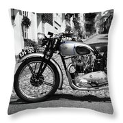 Tiger T100 Vintage Motorcycle Throw Pillow