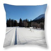 Tire Tracks In Snow In An Isolated Area Of The Kenai Peninsula Throw Pillow