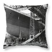 Titanic In Belfast Dry Dock 1911 Throw Pillow