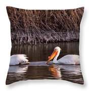 To Pelicans Trolling For Fish Throw Pillow